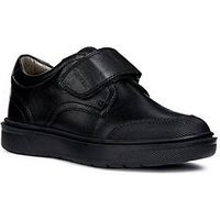 Geox Geox Riddock Boys Leather One Strap School Shoe, Black, Size 2 Older