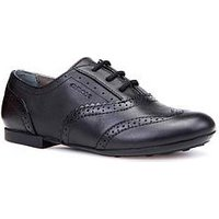 Geox Geox Plie Girls Leather Lace Up School Brogue, Black, Size 1 Older