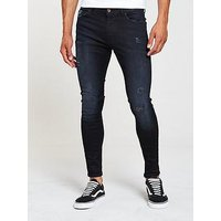 V by Very Superskinny Power Stretch Jean, Black Wash, Size 40, Inside Leg Regular, Men