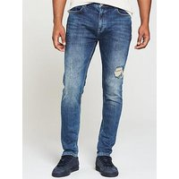 V by Very Tapered Rip And Repair Jean, Lightwash, Size 38, Inside Leg Short, Men