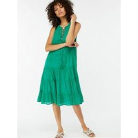 Monsoon Mila Tiered Midi Dress - Green