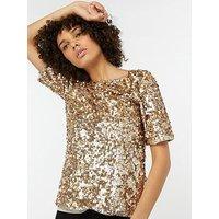 Monsoon Juliet Sequin Top, Gold, Size 18, Women