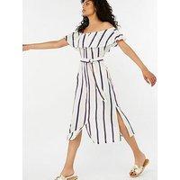 Monsoon Utari Stripe Linen Midi Dress - Ivory