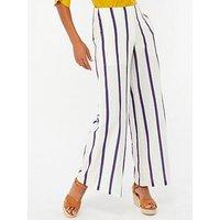 Monsoon Utari Stripe Crop Trouser, Ivory, Size 14, Women