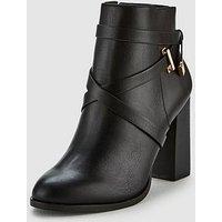V by Very Fia Block Heel Ankle Boot - Black, Black, Size 5, Women