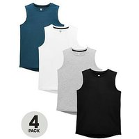 Boys, V by Very 4 Pack Vests, Multi, Size 13-14 Years