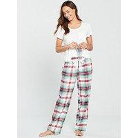 V by Very Pyjama and Eye Mask Gift Set - Christmas Check, Check, Size 10, Women