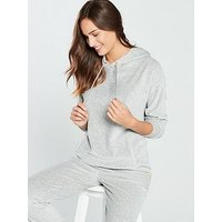 V by Very Cotton Velour Hoodie  - Grey, Grey, Size 20-22, Women