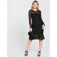 V By Very Petite Drop Hem Lace Dress - Black