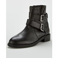 V by Very Fawn Leather Biker Boot - Black , Black, Size 5, Women