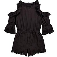 V by Very Girls Cold Shoulder Frill Playsuit, Black, Size 11 Years, Women