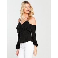 V by Very Ruffle Wrap Top - Black, Black, Size 12, Women
