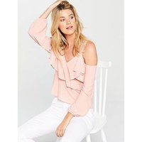 V by Very Ruffle Wrap Top - Pink, Pink, Size 16, Women