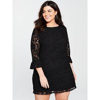 V by Very Curve Lace Tunic Dress, Green, Size 20, Women