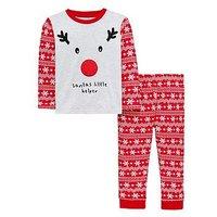 Boys, Mini V by Very Reindeer Santa's Little Helper Pyjama Set, Red, Size Age: 9-12 Months