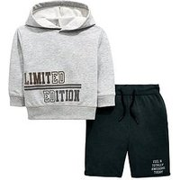 Boys, V by Very Limited Edition Flock Hoody and Shorts set, Grey, Size Age: 3-4 Years