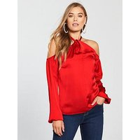V by Very Halter Neck Satin Blouse - Red, Red, Size 16, Women