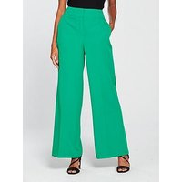 V by Very Statement Green Wide Leg Trouser - Green, Green, Size 18, Women