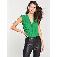 V by Very Sleeveless Wrap Bodysuit - Green, Green, Size 16, Women