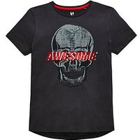 Boys, V by Very Awesome Reversible Sequin Skull T-Shirt, Grey, Size 9 Years