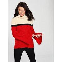 BOSS Issmay Mock Neck Jumper - Red , White/Red, Size S, Women