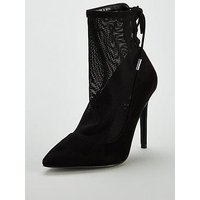 V by Very Foxy Mesh Point Shoe Boot - Black, Black, Size 4, Women
