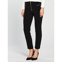 V by Very Zip Detail Cigarette Trouser - Black , Black, Size 8, Women