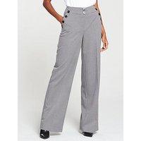 V by Very Mini Check Wide Leg Trouser, Check, Size 12, Women