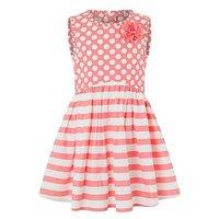 Monsoon Spot & Stripe Dress, Coral, Size 8 Years, Women