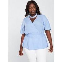 V by Very Curve Choker Wrap Blouse - Pale Blue, Pale Blue, Size 16, Women