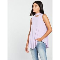 V by Very Sleeveless Choker Button Detail Top - Lilac, Lilac, Size 14, Women