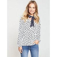 V by Very Tie Neck Top - Mixed Heart Print , Heart Print, Size 8, Women