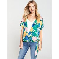 V by Very Wrap Elasticated Waist Top, Green Print, Size 10, Women