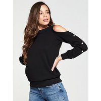 V by Very Cold Shoulder Popper Sweat, Black, Size 22, Women