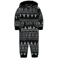 Mini V by Very Christmas Tree Fairisle Fleece All In One with Borg Lined Hood, Black/White, Size Age: 2-3 Years, Women
