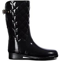 Hunter Hunter Refined Gloss Quilt Short Wellington Boot, Black, Size 5, Women