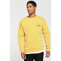 V by Very Yellow Crew Neck Sweat, Yellow, Size Xs, Men
