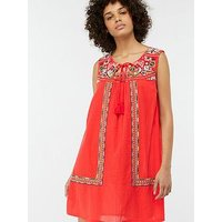 Monsoon Grace Embroidered Day Dress - Red
