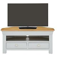 Product photograph showing Seattle Ready Assembled Corner Tv Unit - Fits Up To 46 Inch Tv