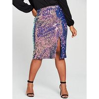 Lost Ink Plus Sequin Pencil Skirt - Multi