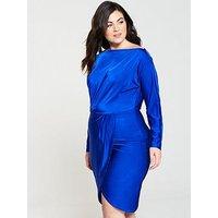 Ax Paris Curve Slinky Off Shoulder Bodycon Midi Dress - Cobalt Blue
