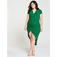 Ax Paris Curve Cap Sleeve Wrap Midi Dress - Jade Green