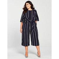 Ax Paris Curve Knot Front Culotte Jumpsuit - Navy/Stripe
