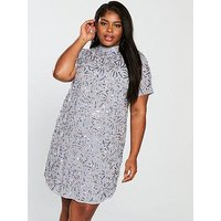 Lost Ink Plus Lost Ink Plus Shift Dress In Spiral Embellishment, Grey, Size 18, Women