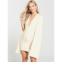 Lavish Alice Gathered Tie Waist Cape Dress - Cream, Cream, Size 8, Women