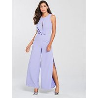 Lavish Alice Lavish Alice Draped Asymmetric Wide Leg Jumspuit - Lilac, Lilac, Size 12, Women