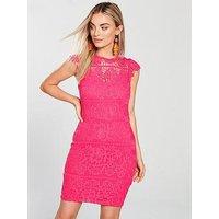AX Paris Lace Bodycon Dress - Cerise, Cerise, Size 8, Women