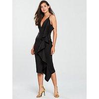 Lavish Alice Scuba Asymmetric Draped Frill Midi Dress - Black, Black, Size 8, Women