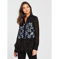 Lost Ink Feather Embellished Shirt - Black , Black, Size 14, Women