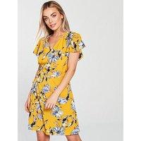 AX Paris Petite Petite Wrap Dress - Yellow, Yellow, Size 8, Women
